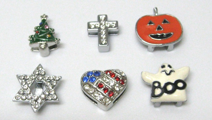 10mm Slide Holiday charms - Tree, Candy Cane, Snowflake, Star of David, Pumpkin, Ghost, Flag Heart