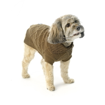 front view cable knit european cut tweed dog sweater