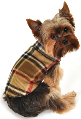 Camel Plaid Fleece dog