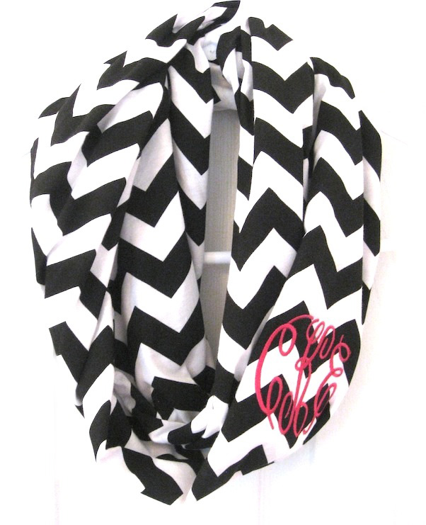Infinity scarf black chevron monogrammed
