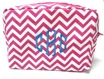 Chevron Travel Cosmetic Bag Monogrammed