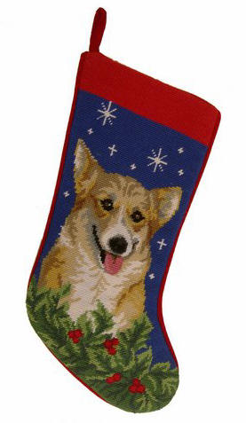 Corgi Needlepoint Stocking
