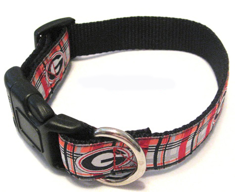 GA Bulldogs Plaid Dog Collar NCAA officially licensed U of GA plaid