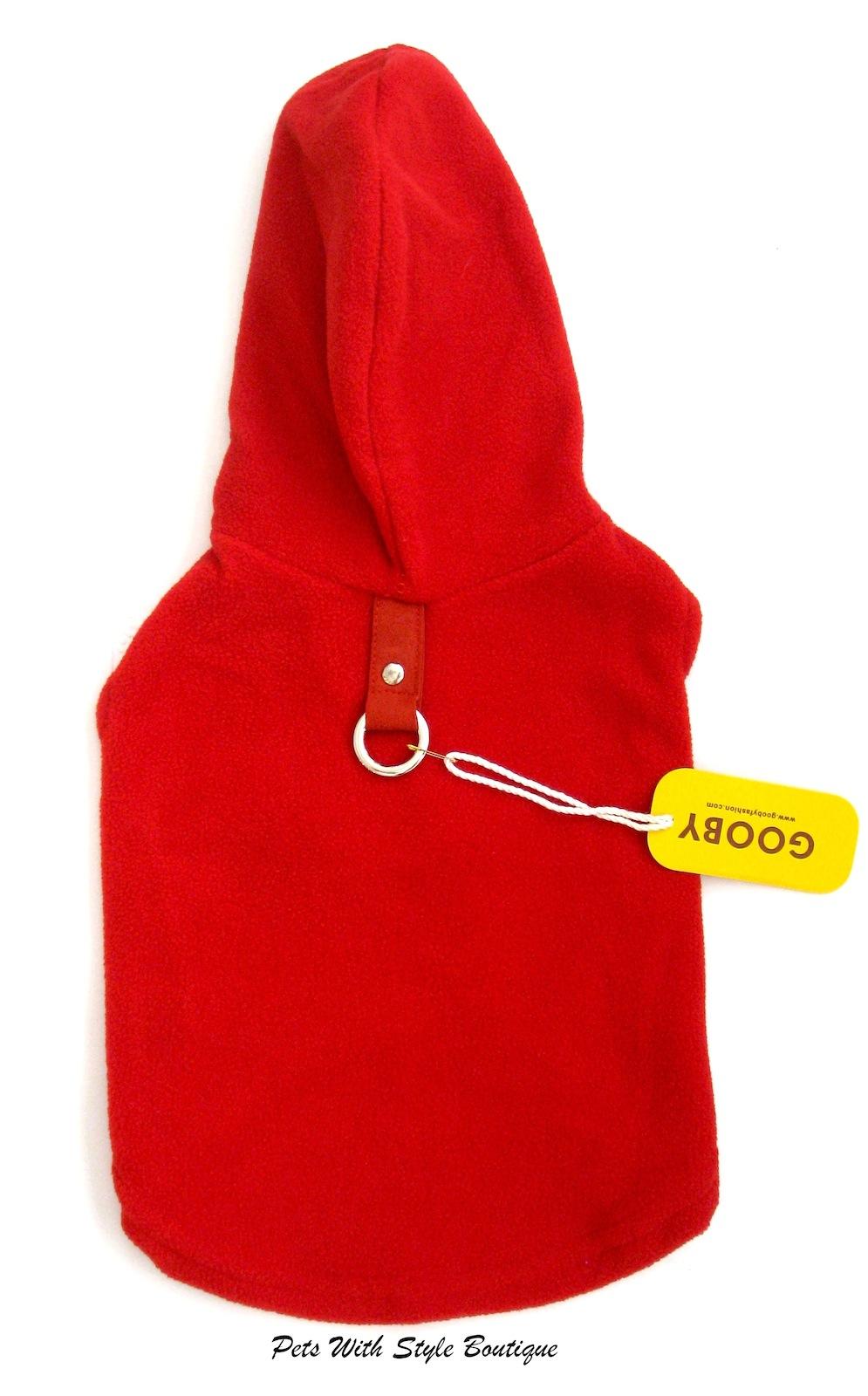 Gooby fleece hoodie harness red
