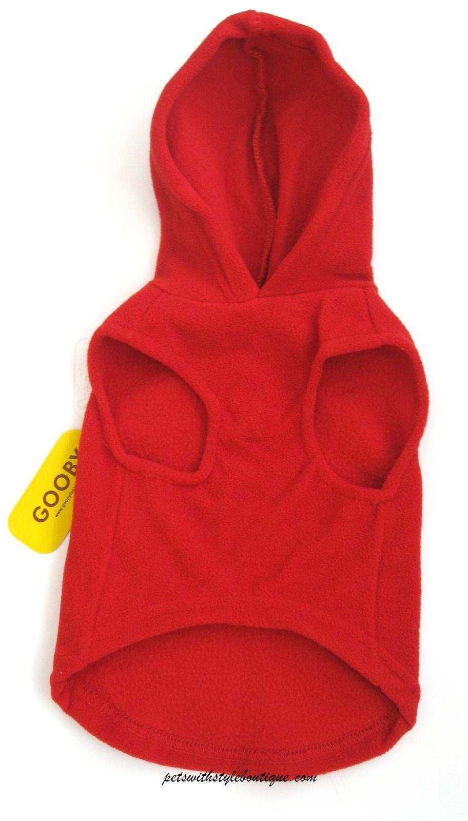 Gooby fleece hoodie harness red underside