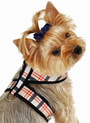 Personalized Redblack Tartan Plaid Dog Harness Rhinestone