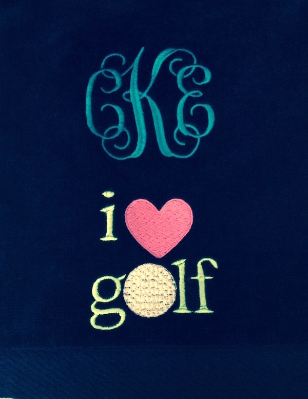 Golf towel Navy monogrammed & design