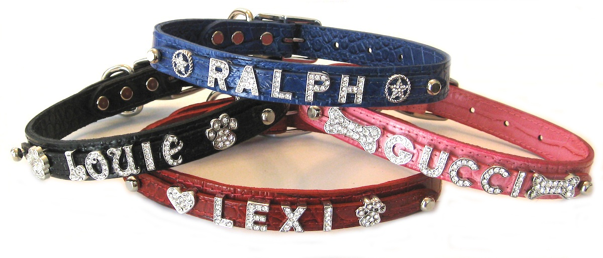 personalized croc embossed leather dog collar
