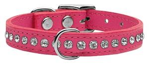 Pink Rhinestone leather collar