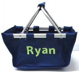Mini Market Tote Navy Ryan Block letters