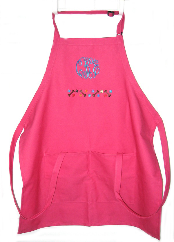 Monogrammed Apron with Paws/Bones Border