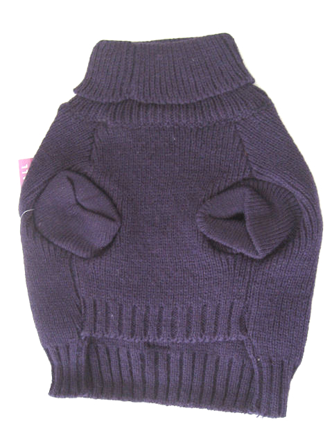 Classic knit dog sweater plum underside