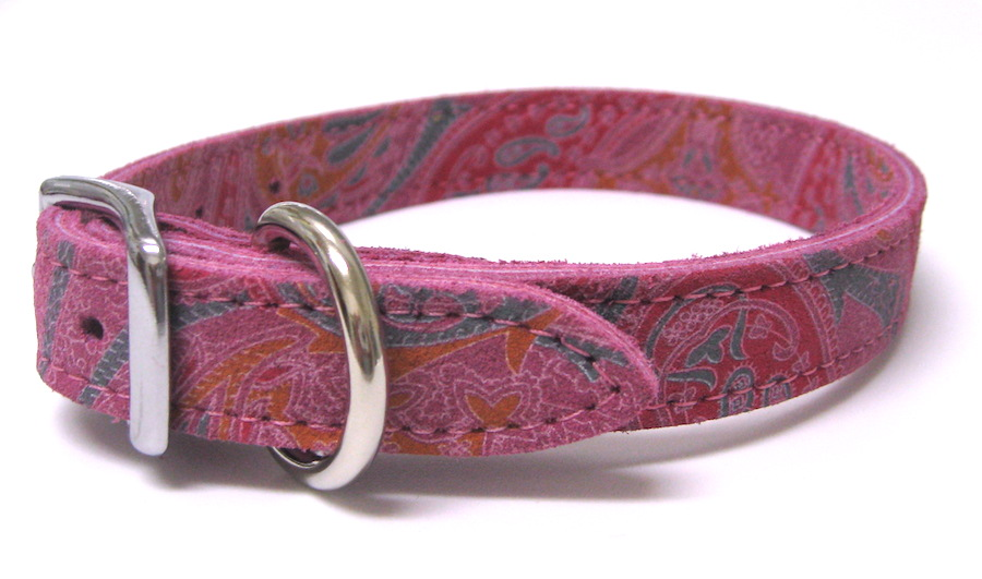 Paisley Suede Leather Dog Collars Made in the USA