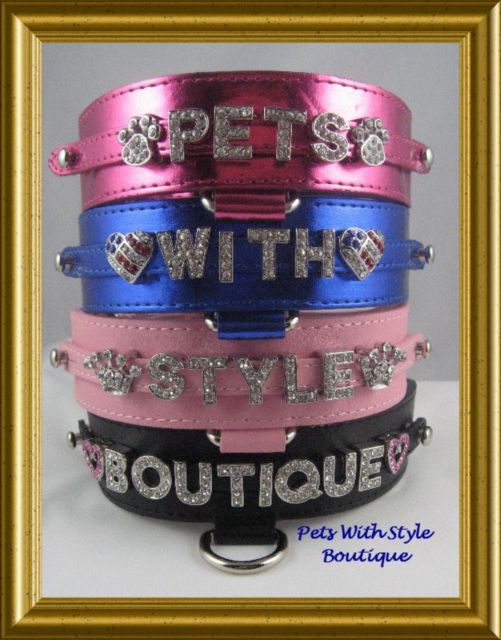 Bling Personalized Dog Collar Leather by Pretty Smith Designs