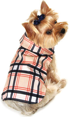 Dog Raincoat Tan Plaid