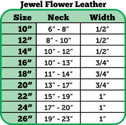 Size chart flower jeweled collar