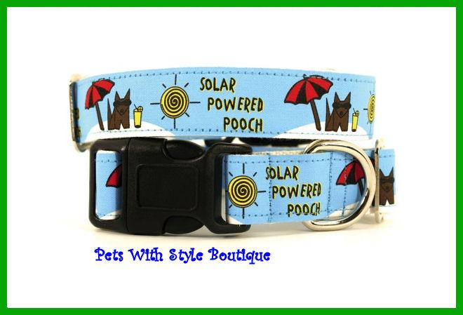 Wagging Green Solar Powered Pooch Dog Collar, Harness, Leash