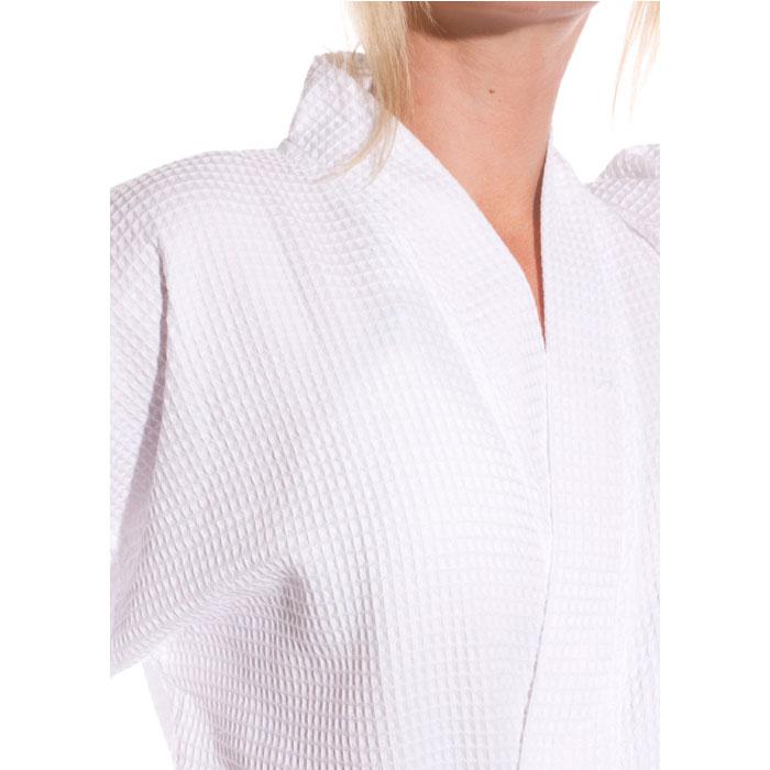 Waffle Weave Kimono robe white
