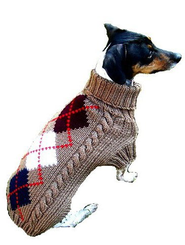 Hand Knit Argyle Dog Sweater Small Dogs By Dallas Dogs