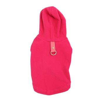 Gooby fleece hoodie harness hot pink