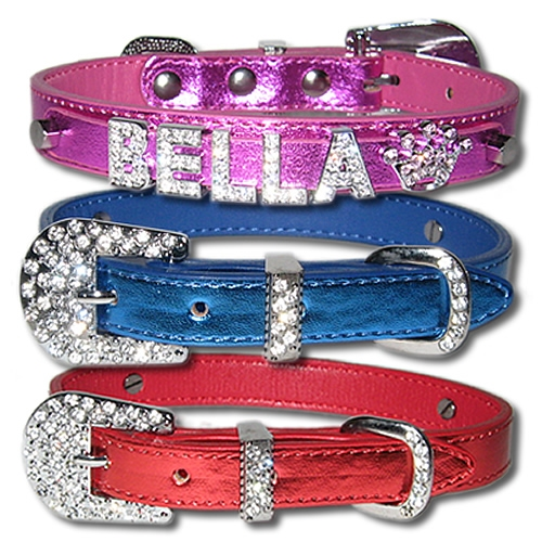 "Bling Personalized Metallic Dog Collar with Rhinestone Buckle, 5/8"" wide - XS, S, M , Pink, Blue, Red, Purple"