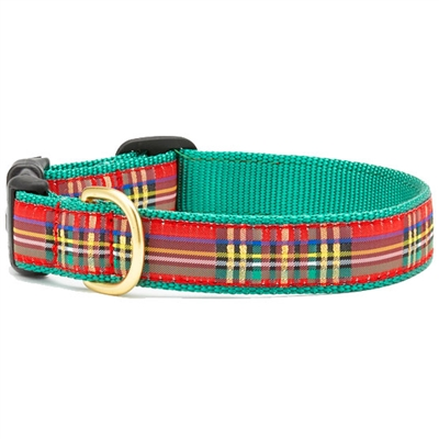 UpCountry Christmas Sparkle Red Plaid Dog Collar - Plain or Personalized XS - XL