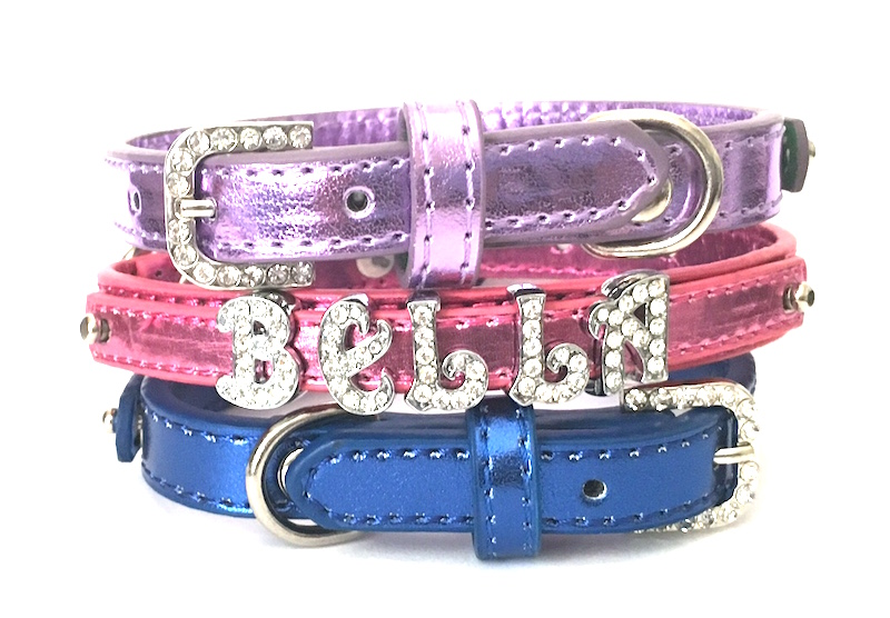 Bling Personalized Metallic Dog Collar - Faux leather with Rhinestone Buckles, XS, S, M, Red, Purple, Pink and Blue