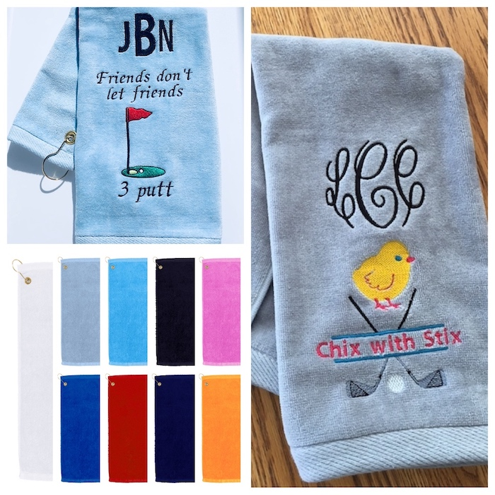 #1 Best Seller Golf Towel Monogrammed, Add a fun design...Many colors to choose from