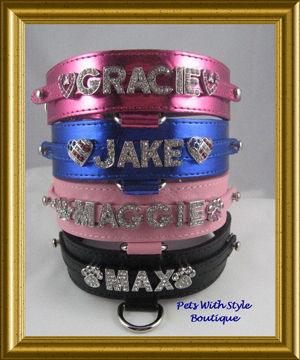 Bling Personalized Dog Collar Leather