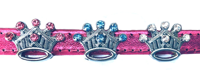 10mm Rhinestone SliderCharm Princess Crown - Clear, Pink, or Blue