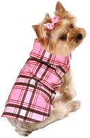 Designer Dog Raincoat Plaid, by I See Spot, Pink or Tan Plaid