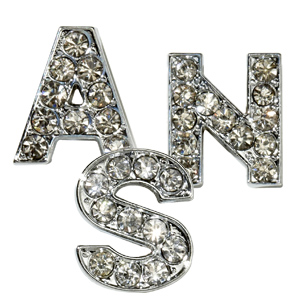 10mm Block Rhinestone Slide Letters Clear