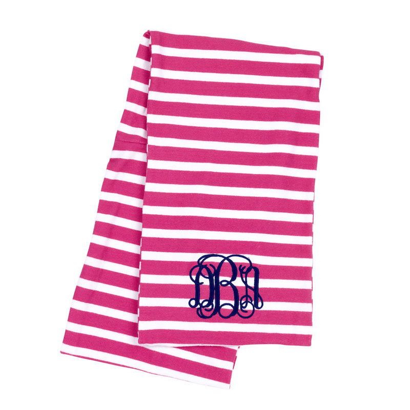 Hot pink striped infinity scarf