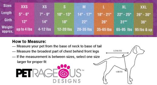 Petrageous Designs size chart