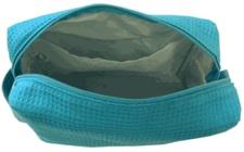 Single zipper waffle weave cosmetic bag inside