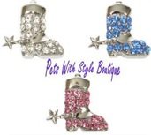 10mm Rhinestone Slide Charm Cowboy Boot, Hat, or Rope star