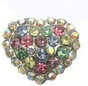 10mm Rhinestone Slider Charm Puffed Heart Multicolored, Purple, Red