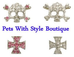 10mm Rhinestone Slider Charm Skull and Maltese Cross