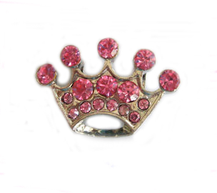 10mm Rhinestone Slider Charm Large Crown Pink or Blue
