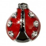 10mm Rhinestone Slider Charm Ladybug
