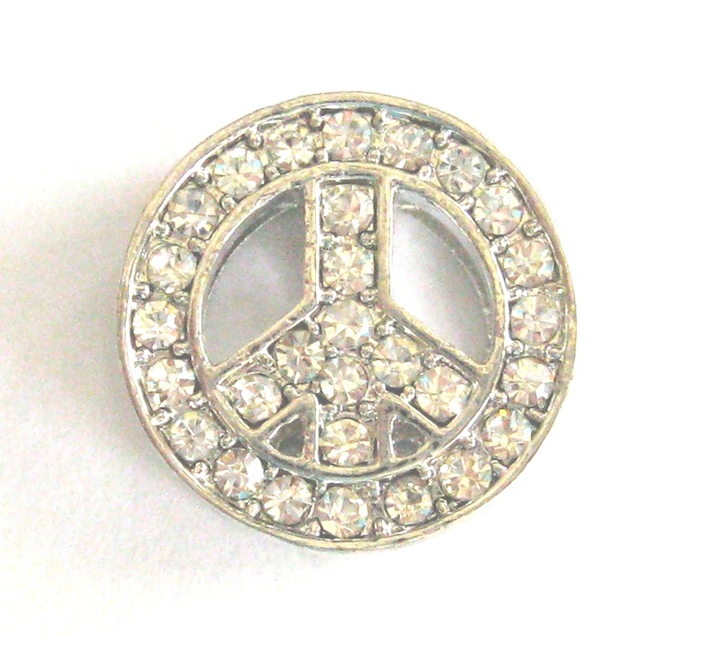 10mm Rhinestone Slide Charm Peace Sign
