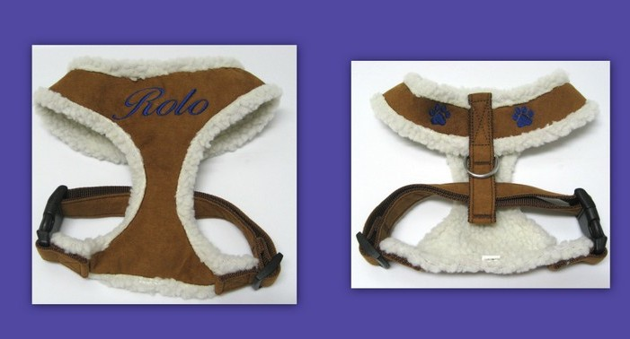 Personalized Faux Suede Sherpa Lined Dog Harness Custom Embroidered with Pet's Name - Chestnut or Raspberry Pink