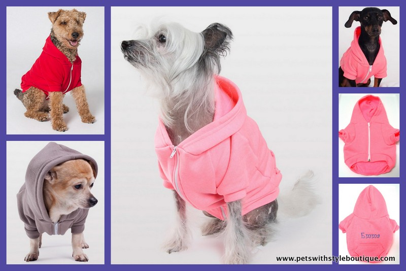 Best Seller Dog Sweatshirt Hoodie Zippered Personalized XS to Big Dogs  - Made in the USA