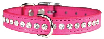 Bling Rhinestone Leather dog collar - Pink, limited quantity and sizes