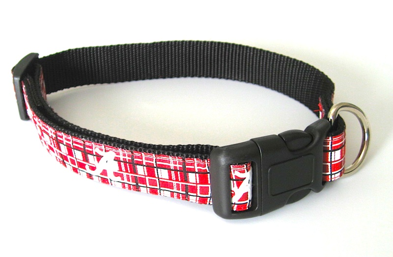 NCAA Dog collar Alabama Crimson Tide Plaid Dog Collar NCAA Officially Licensed U of AL Dog Collar and/or Leash