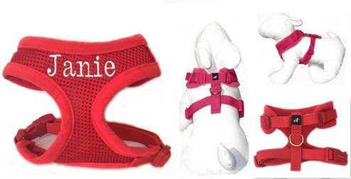 #1 Best Seller Adjustable Neck Dog Harness Personalized XS - XL, Red, Black, Hot Pink, Purple, Aqua, Navy