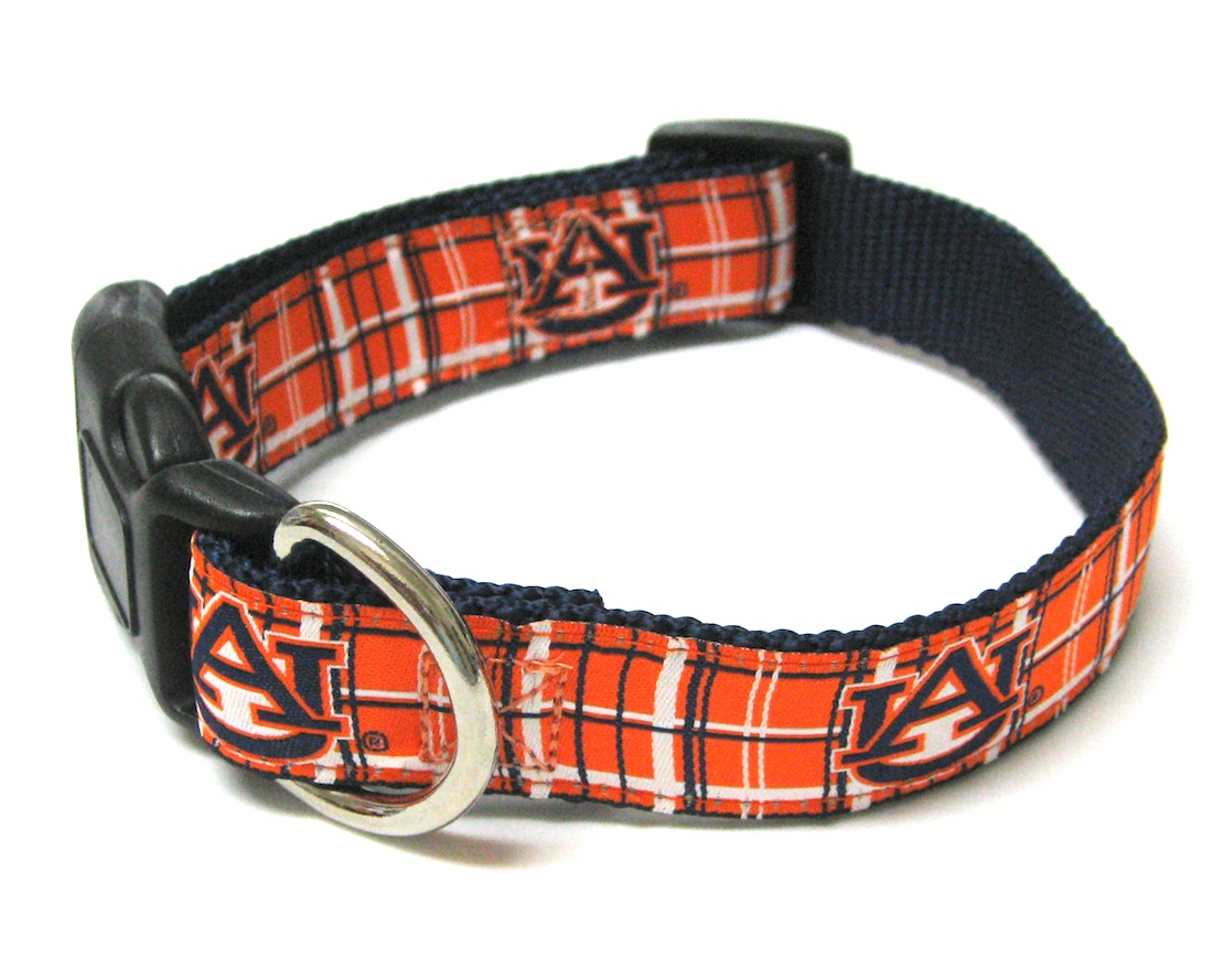 NCAA Dog Collar Auburn University Tigers Plaid Dog Collar NCAA Officially Licensed Auburn University Dog Collar and/or Leash