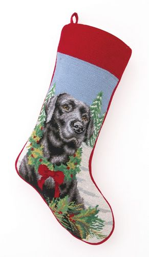 Best Seller Christmas Personalized Dog Breed Needlepoint Stockings - Plain or Custom Embroidered Name