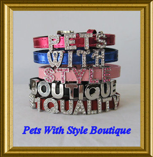 "XXS Personalized Leather Dog Collar adjusts 6-8"" x 1/2"" wide"