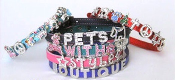 "Best Seller Bling Personalized Leather Dog Collar Single Tiered Signature Leather for Smaller Dogs with necks less than 12""   Made in the USA"